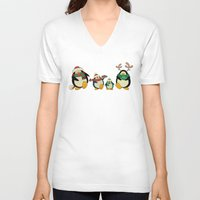 cartoons V-neck T-shirts featuring Penguin family  by mangulica illustrations