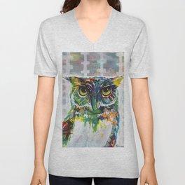 Mixed media Owl Unisex V-Neck