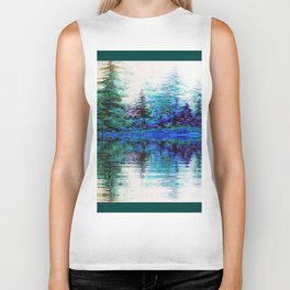 BLUE MOUNTAIN TREES & LAKE REFLECTION Biker Tank
