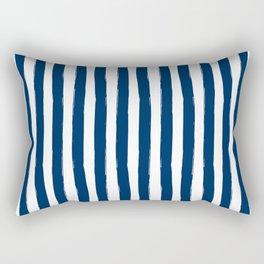 Navy and White Cabana Stripes Palm Beach Preppy Rectangular Pillow