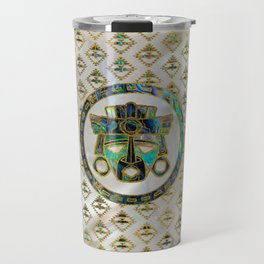 Tribal Ethnic  Mask Gold on Abalone Shell and Pearl Travel Mug