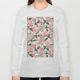 Vintage & Shabby Chic - Pink Tropical Birds And Flowers Long Sleeve T-shirt