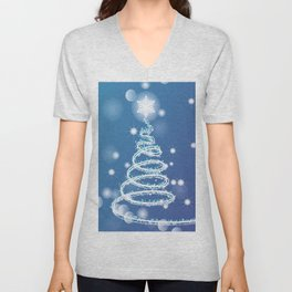 Christmas background with bokeh and snowflake Unisex V-Neck