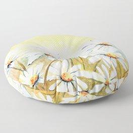 Daisies Watercolor Floor Pillow