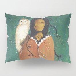 Wise Woman // Native American Woman Shaman Shamanism Owl Spirit Animal Feather Tree Turquoise Indian Pillow Sham