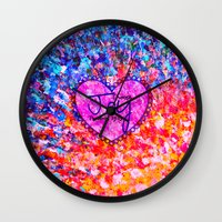 scripture Wall Clocks featuring CHOOSE JOY Christian Art Abstract Painting Typography Happy Colorful Splash Heart Proverbs Scripture by The Faithful Canvas