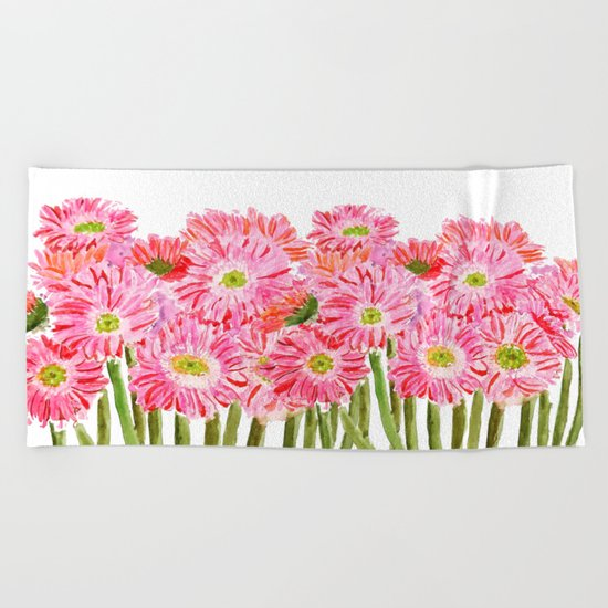 Pink Gerbera Daisy watercolor Beach Towel