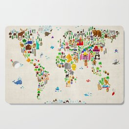 Animal Map of the World for children and kids Cutting Board