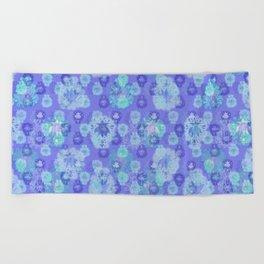 Lotus flower - pool blue woodblock print style pattern Beach Towel