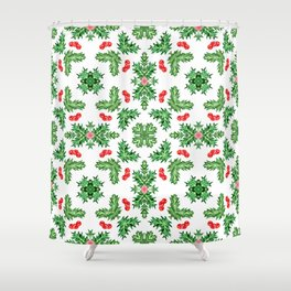 Holly Jolly Christmas Kaleidoscope (Small Pattern) Shower Curtain