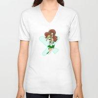 sailor jupiter V-neck T-shirts featuring Sailor Jupiter by Eileen Marie Art