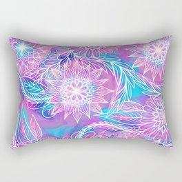 Artsy Girly Purple Aqua Floral Drawn Illustration Rectangular Pillow