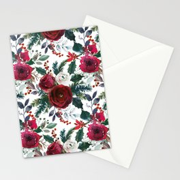 Festive Red Floral Arrangement on White  Stationery Cards