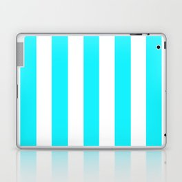 Lotion blue - solid color - white vertical lines pattern Laptop & iPad Skin