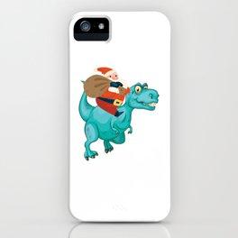 Santa Claus Riding Dinosaur T Rex Merry Christmas iPhone Case