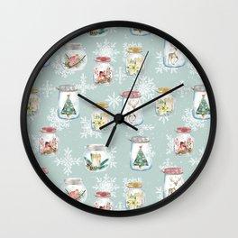 Christmas Jars Mint Wall Clock