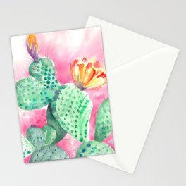 Blooming opuntia cactus Stationery Cards