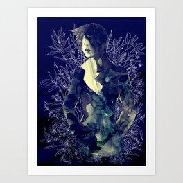Shadow-man in conscious flowering ornament   Art Print
