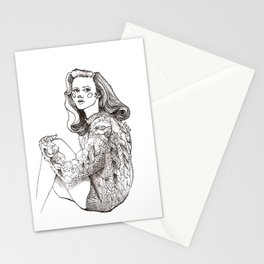 Girl in a Sweater, ink Stationery Cards