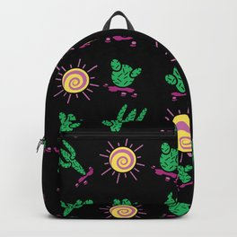 Sunny Cacti on Black Background Backpack