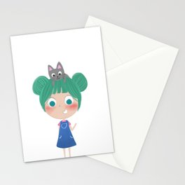 got a catty on my head XD Stationery Cards
