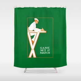 Game set and match retro tennis referee Shower Curtain