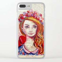 Floral Girl on dictionary page Clear iPhone Case