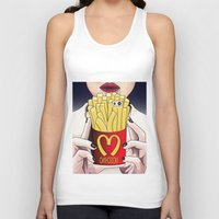 french fries Tank Tops featuring I LOVE FRENCH FRIES by Analy Diego