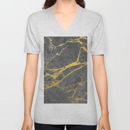 Matte black marble with gold Unisex V-Neck