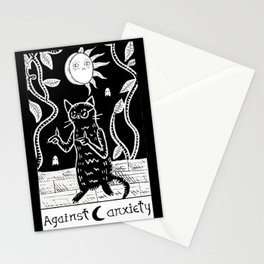 Anxiety cat Stationery Cards
