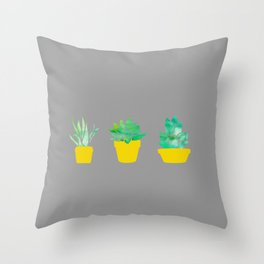 3 Adorable Succulents in Pots - Grey Yellow and Green Throw Pillow
