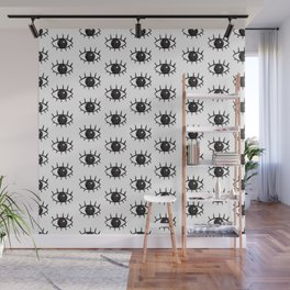 Keep Your Eyes Open Black Pattern Wall Mural