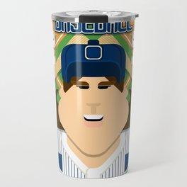 Baseball Blue Pinstripes - Deuce Crackerjack - June version Travel Mug