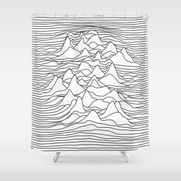 Black and white graphic - sound wave illustration Shower Curtain