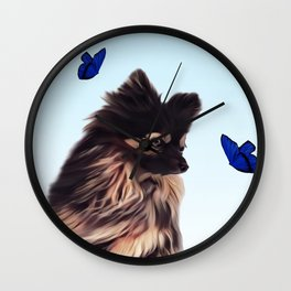 The Pomeranian and the Butterflies Wall Clock