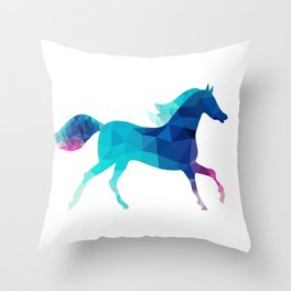 blue horse made of triangles Throw Pillow
