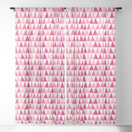 Pink Organic Geometric Abstract Triangles Sheer Curtain