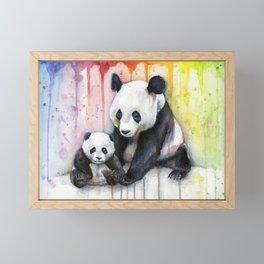 Rainbow Pandas Watercolor Mom and Baby Panda Nursery Art Framed Mini Art Print