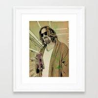 lebowski Framed Art Prints featuring Dude Lebowski by Giuseppe Cristiano