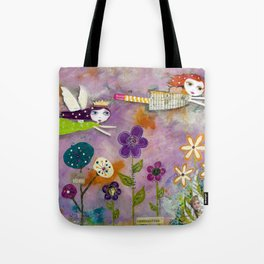 LIVE IN THE SUNSHINE, mixed media art Tote Bag