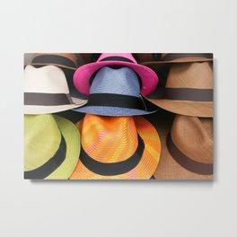 Colored Panama Hats Metal Print