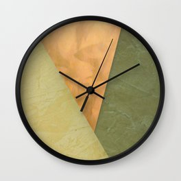 Golden Triangle With Green and Cream - Corbin Henry Color Field Wall Clock