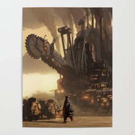 Steampunk Abstract Painting Poster