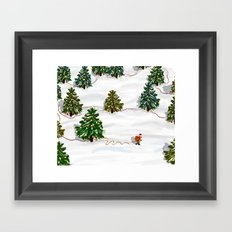 Who cares about having your own xmas trees when you can decorate the whole forest? Framed Art Print