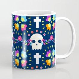 Latin Dios De Los Muertos Neon Sugar Skull and Cross Pattern Coffee Mug
