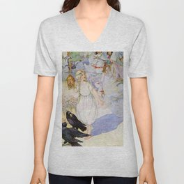 """""""Gerda and the Ravens"""" Fairy Art by Anne Anderson Unisex V-Neck"""