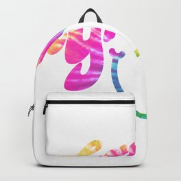 Groovy Smile // Tie-dye Fun Retro 70s Hippie Vibes Green Yellow Pink Blue Lettering Typography Art Backpack