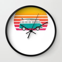 Kill Devil Hills Sunset Surfing Hippie Van Art  Wall Clock