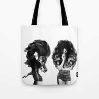 lions Tote Bags featuring Lions And Bears Party by Jenny Liz Rome