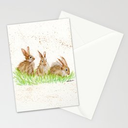 Hoppy Trio Bunnies - animal watercolor painting of rabbits Stationery Cards